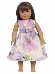 Lilac Cotton Floral Print 18� Doll Dress