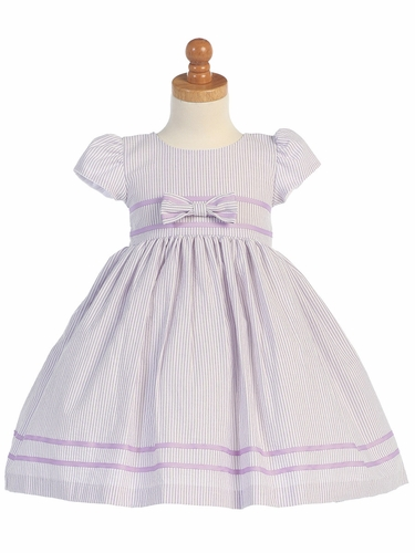 Lilac Cotton Seersucker Dress