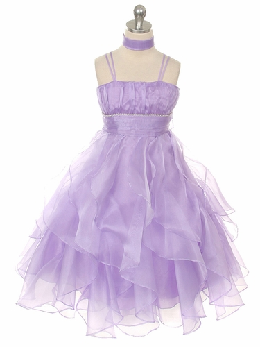 Lilac Crystal Pleated Multi-Layered Petal Dress