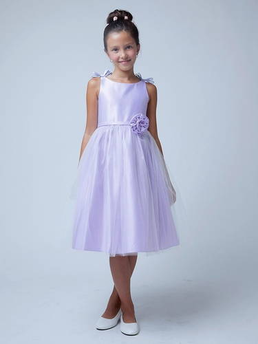 Lilac Double Bow Satin & Tulle Dress