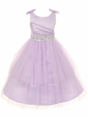 Lilac Double Bow Shoulder Jewel Sash Tulle Dress
