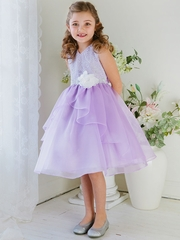 Lilac Double Layered Organza Dress w/ Embroidered Bodice