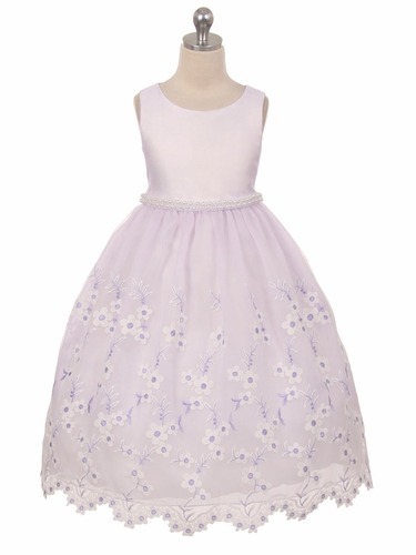 Lilac Embroidered Floral Dress w/ Pearl Waistband & Scallop Hem