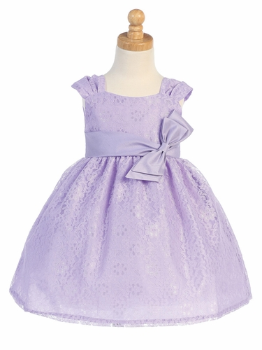 Lilac Embroidered Tulle Dress w/ Bow