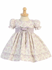 Lilac Floral Baby Dress w/ Sleeve