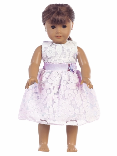 """Lilac Floral Embossed Lace 18"""" Doll Dress"""
