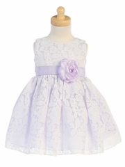 Lilac Floral Embossed Tulle Lace Dress