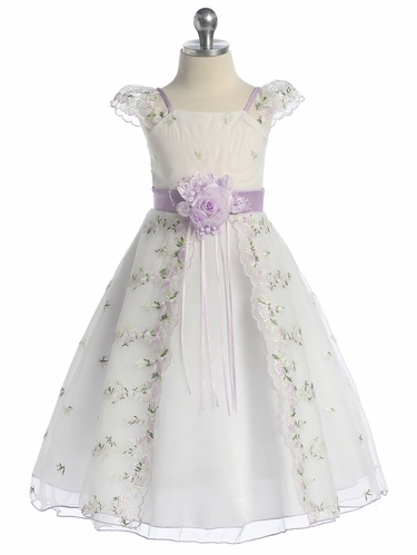 Lilac Floral Embroidered Organza Girl Dress