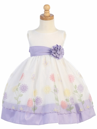 Lilac Floral Embroidered Organza w/ Poly Silk Trims