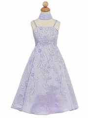 Lilac Flower Girl Dress - Matte Satin A-Line