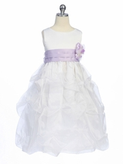 Lilac Flower Girl Dress - Matte Satin Bodice w/ Gathers