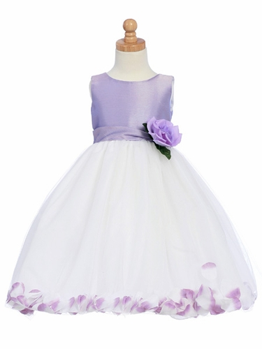 Lilac Flower Girl Dress - Shantung Bodice w/ Tulle Skirt
