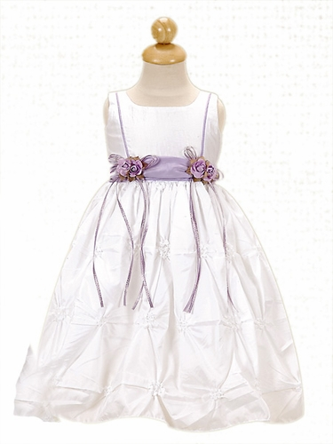 Lilac Flower Girl Dress - Taffeta Dress w/ Gathers