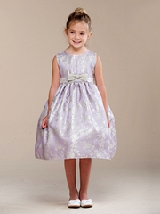 Lilac Glitter Rose Pattern w/ Bow Flower Girl Dress