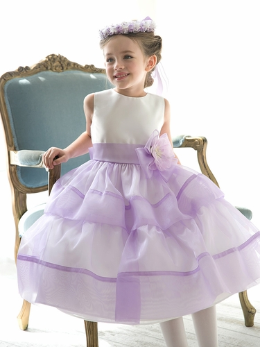 Lilac Organza Layered Dress w/ Flower & Sash