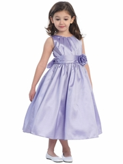 Lilac Pleated Solid Taffeta Dress w/ Hand Rolled Flower