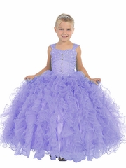 Lilac Ruffle Pageant Dress w/ Jeweled Bodice