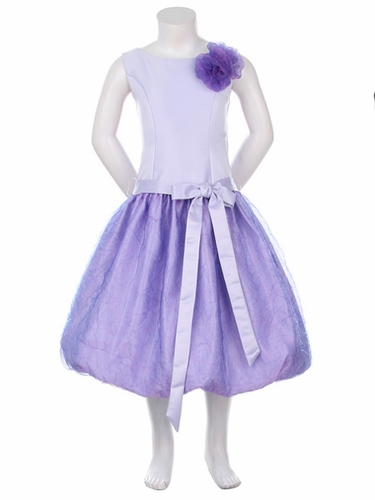 Lilac Satin Bodice w/Two Tone Crushed Organza Bubble Dress