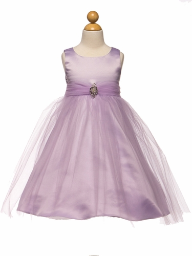 Lilac Satin & Tulle Dress w/ Rhinestone Brooch