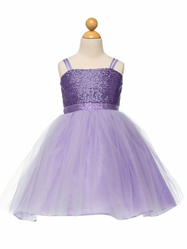Lilac Sequined Bodice w/ Tulle Skirt & Sash