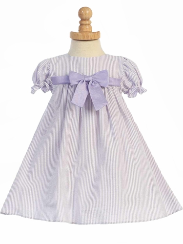 Lilac Striped Cotton Seersucker Cap Sleeved Dress