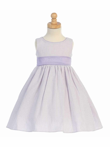 Lilac Striped Cotton Seersucker Dress