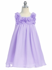 Lilac Yoryu Chiffon Dress w/ Rose Buds