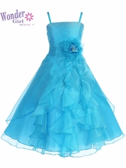 Lily Organza Turquoise Dress