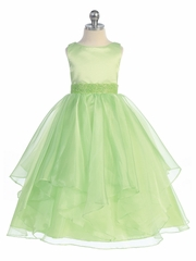 Lime Green Satin & Organza Layered Dress
