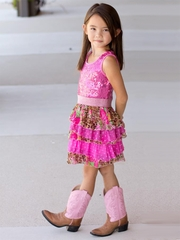 Lipstik Girls Fuchsia Sequins Dress w/ Ruffles & Leopard Detail