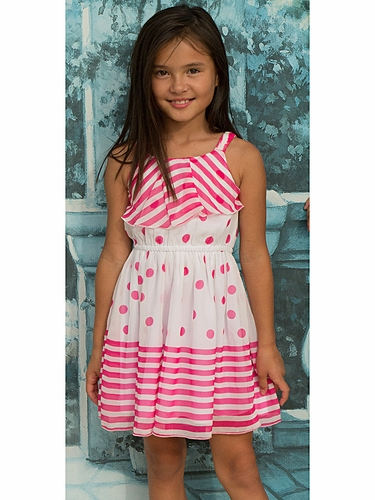 Lipstik Girls Pink & White Striped Polka Dot Chiffon Dress