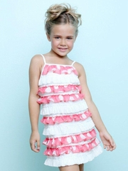 Lipstik Girls Salmon / Ivory Polka Dot Ruffle Dress w/ Sequin Accents