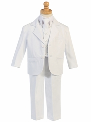 Little Gents 5 Piece White 2 Button Suit