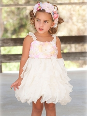 "Little Mass ""Butter Icing"" Pink/Ivory Flower Dress"