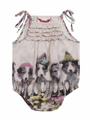 Little Wings Frilled Onesie w/ Puppies