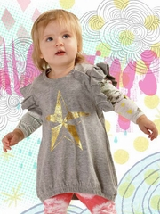 Little Wings Gray Marle / Gold Foil Frilled Pinafore Dress