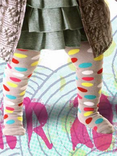 Little Wings Grey / Multicolor Spotted Tights