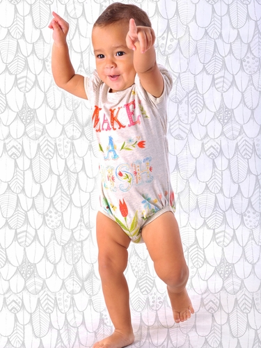 Little Wings Light Grey Marle 'Make A Wish' Puff Sleeve Onesie