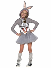 Looney Tunes Bugs Bunny Girls Hooded Tutu Dress Costume