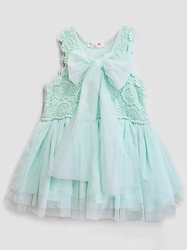 Mae Li Rose Aqua Crochet Top Bow Dress w/ Tulle Skirt