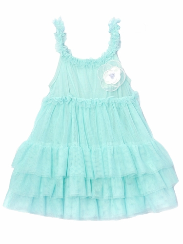Mae Li Rose Aqua Ruffle Dress w/ Flower