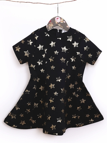 Mae Li Rose Black Neoprene Star Dress