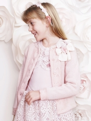 Mae Li Rose Dusty Rose Bow Cardigan