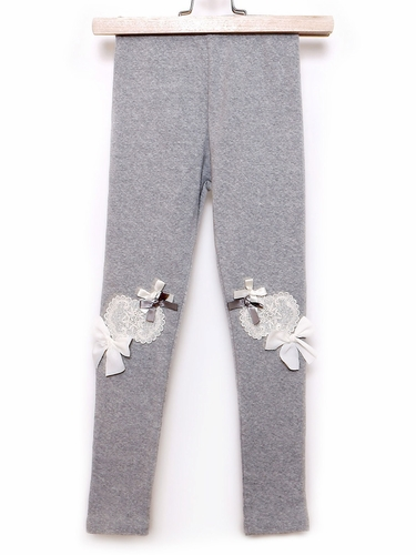 Mae Li Rose Gray Heart Patch Leggings