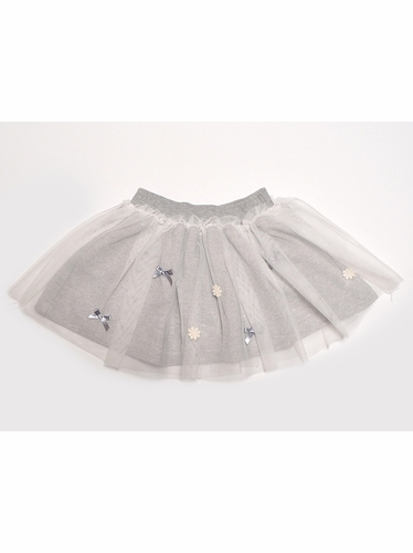 Mae Li Rose Grey Mesh Overlay Skirt w/ Bows