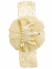 Mae Li Rose Ivory Crown Infant Headband