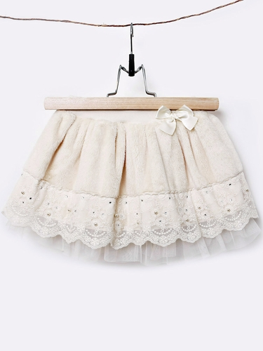 Mae Li Rose Ivory Furry Bow Skirt