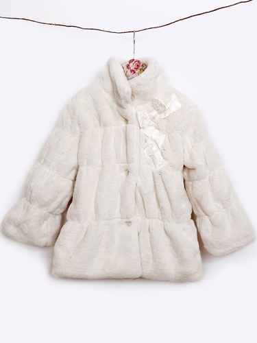 Mae Li Rose Off White Fuzzy Coat