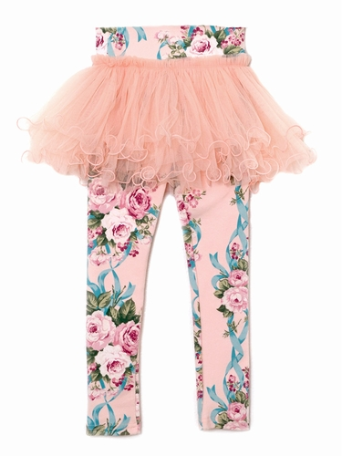 Mae Li Rose Peach Floral Skeggings