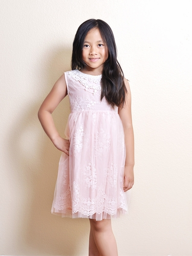 Mae Li Rose Pink Lace Dress w/ Crochet Neckline